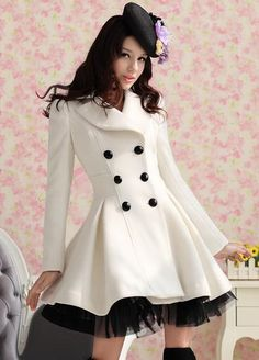 Elegant Gothic Double Breasted Gauze Trimming Coat - I love this cute coat! I found an off white coat, similar to this at a second hand store, added tulle at the bottom it turned out fabulous! Beauty And Fashion, Trend Fashion, Fashion Women, Fashion Coat, White Fashion, Fashion Clothes, Style Fashion, Dress Clothes, Fashion Fall