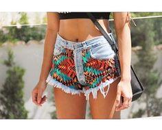 Cute multi colored Aztec design cut off shorts
