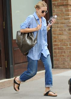 celebrities in birkenstocks | Ashley Olsen in Gizeh sandals.