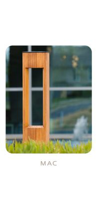 Bollards made from sustainably harvested wood with LED lamps.