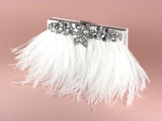 Brand new design!! Gorgeous white ostrich feather bridal clutch with rhinestone trim!