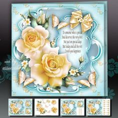 Yellow Roses Card Mini Kit on Craftsuprint designed by Atlic Snezana - Yellow Roses Card Mini Kit: 4 sheets for print with decoupage for 3D effect plus few sentiment tags (for your own personal text) - Now available for download!