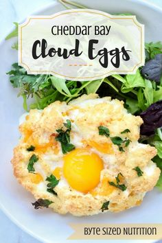 Take your brunch game to the next level with Cheddar Bay Cloud Eggs - a gluten-free, protein-packed spin on Red Lobster's infamous (and highly addictive) Cheddar Bay Biscuits! | www.bytesizednutrition.com