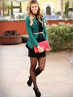 Polka dot tights, green blazer, black dress, clutch.