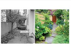 Before and After:  400-square-foot Portland alley transformed into soothing garden escape. Small-yard revamps from Sunset Mag.