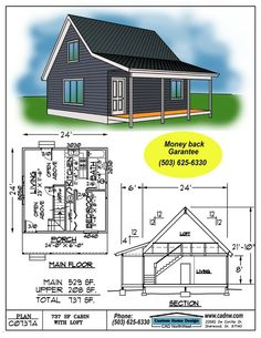 Small Cabin Plans, Small Shed Plans, Cabin House Plans, Cottage Floor Plans, Cabin Floor Plans, Tiny House Cabin, Tiny House Design, Cabin Homes, Small House Plans