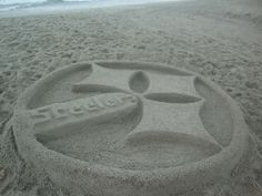 Steelers done in sand.