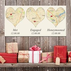 Valentine's Day Gifts for the men in your life Holiday Gifts for him or her .. MAP LOVE Heart YOUR location