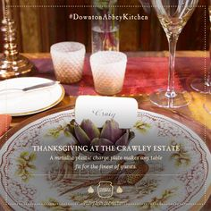 """Thanksgiving is just around the corner! Make your table setting colours match this beautiful season with """"copper, rust, browns, and deep red."""" #DowntonAbbeyKitchen"""