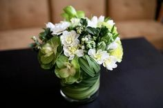 Green and white wedding flowers...