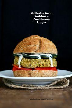 Artichoke Spinach Cauliflower Bean Burgers. Grill-able Vegan Veggie Burger Recipe. | Vegan Richa
