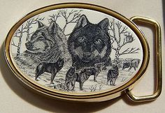 Belt Buckle Barlow Scrimshaw Wolf Wolves Portrait Traditional Carved Painted Art