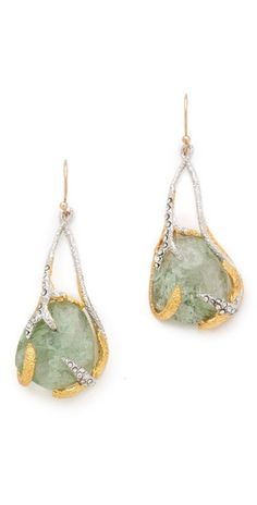 Alexis Bittar Mauritius Suspended Earrings /  FREE SHIPPING at shopbop.com. Textured, mixed metals grip faceted glass stones on asymmetrical earrings with french hooks, and tiny Swarovski crystals add shimmer. Made in the USA.