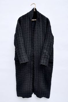 "My kind of clothes - Paper, linen, and cotton spun together and woven into a ""spaced plaid"" textile, coat with double selvedge layering and exaggerated sleeves"