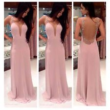 Womens Long Backless Lace Prom Ball Cocktail Party Dress Formal Evening Gown