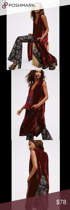 """Free People ruby red wine Luxe Velvet Maxi Vest Free People ruby red wine Luxe Velvet Maxi Vest  long & luxe velvet featuring a dramatic back vest side pockets details * open front New Without Tags  *  Size:  One Size  100% polyester velvet  38"""" around bust 41"""" long Free People Jackets & Coats Vests"""