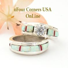 Size 5 White Fire Opal and Coral Engagement Bridal Wedding Ring Set Native American Wilbert Muskett Jr Four Corners USA OnLine Navajo Silver Jewelry Wedding Ring Styles, Engagement Wedding Ring Sets, Wedding Sets, Wedding Bands, Coral Jewelry, Turquoise Rings, Silver Jewelry, Great Anniversary Gifts, Alternative Wedding Rings