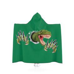 T-Rex Breakout Hooded Blanket - Dark Green. by MbiziHome on Etsy Pet Urine, Hooded Blanket, T Rex, Favorite Color, Blankets, Hoods, Dark, Trending Outfits, Green