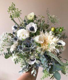 fall bridal bouquets Romantic bridal bouquet of blue, white, and beige flowers. Bridal Bouquet Fall, Fall Bouquets, White Wedding Bouquets, Blue Bouquet, Fall Wedding Flowers, Floral Wedding, Wedding Colors, Bridal Bouquets, Green Wedding Centerpieces