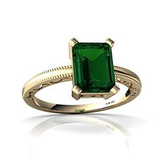 14kt Gold Lab Emerald 6x4mm Emerald/_Cut Solitaire Pendant