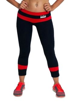 caf4d6e62d10 Gym Tights Black with Red Banding SUPPLEX Fabric For Comfortable Fit