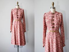 1930s Dress  Vintage 30s Dress  Blush Pink Cold Rayon Floral