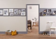 Door Frame And Skirting Boards 43 Ideas For 2019 Coloured Skirting Boards, Painting Door Frames, White Hallway, Striped Hallway, Diy Home Decor, Room Decor, Grey Doors, Hallway Decorating, Decorating Ideas