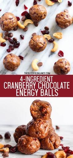 4-Ingredient Cranberry Chocolate Energy Balls