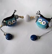 Crochet baby pram owl chain/stroller mobile/crochet handmade teething toy