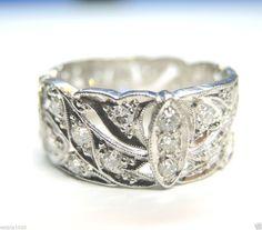Antique Diamond Wedding Band Ring Eternity Vintage Platinum Estate Art Deco FINE #WithDiamonds