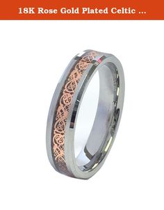 18K Rose Gold Plated Celtic Dragon 6mm Wide Original Stamped Tungsten Carbide Wedding Band Ring By Cohro CJTU534H-6. With Just One Glance At The Beauty Of Our 18K Rose Gold Plated Celtic Dragon 6mm Wide Original Stamped Tungsten Carbide Wedding Band Ring By Cohro You'll See It Is An Incredibly Eye Catching Piece. The Brightness, Color And Pattern Of This Ring Captures The Truest Radiance Of The Integration of High Polished Tungsten Carbide and The Original Inlay designed by Cohro (USA)....