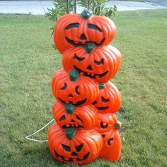 stacked pumpkin jack o lantern halloween lighted blow mold decoration
