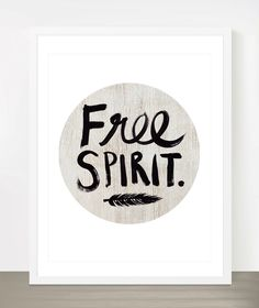 Free Spirit - Boho style 8x10 inch on A4 type poster Print in Natural Brown, White and Black. $20.00, via Etsy.
