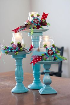 MIY Holiday Decorations: Thrifty Candle Pillars-Painting the town….BLUE! (GUEST POST) | Mommy Hobbies