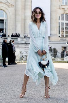 The Best Street Style At Paris Fashion Week Autumn Winter 2017, powder blue long sleeve handkerchief hem midi dress.