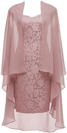 Dusty Pink Short Lace Mother of the Bride Dress with Jacket Formal Gowns at Amaz. - Bridal Gowns Dusty Pink Short Lace Mother of the Bride Dress with Jacket Formal Gowns at Amaz. Mother Of Groom Dresses, Mother Of The Bride, Formal Evening Dresses, Formal Gowns, Formal Prom, Formal Wear, Dress Formal, Dress Brokat, Gowns Online