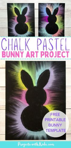 This bunny art project is adorable and so fun for kids to make! Kids will love using this easy chalk pastel technique to create this brightly colored Easter craft. Free bunny template included. Spring Arts And Crafts, Spring Art Projects, Craft Projects For Kids, Arts And Crafts Projects, Kids Crafts, Easy Crafts, Chalk Pastel Art, Chalk Pastels, Bunny Templates