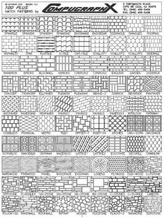 AutoCAD Hatch Patterns - 100 Plus Hatch Patterns - architectural patterns are growth and development in our cities. These patterns are used on architectural drawings. These drawings become buildings in our ever growing cityscape. Croquis Architecture, Landscape Architecture, Landscape Design, Architecture Design, Brick Patterns, Floor Patterns, Paving Pattern, Hatch Pattern, Cad Blocks