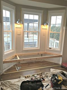 seat in kitchen building a window seat ( I have been wanting one in the bedroom forever! slm)building a window seat ( I have been wanting one in the bedroom forever! House Design, Bay Window Seat, Windows, Home Remodeling, Interior, New Homes, Window Seat, Home Decor, House Interior