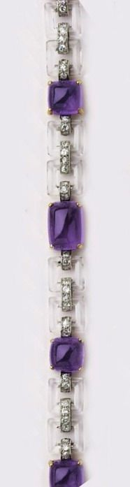 Art Deco Cabochon-cut amethyst, rock crystal, diamond, gold and platinum bracelet. Cartier, London.
