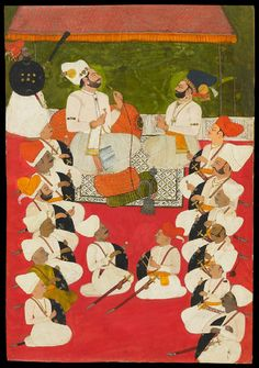 a Thakur or chief of the Rathor clan receives another nobleman in a durbar. The courtiers are in rows with their shields and swords. He may be Kumar (Prince) Bakhat Singh of Junia in central Rajasthan. Rajasthani Painting, Mughal Paintings, India Painting, Hindu Art, Tribal Art, Howard Hodgkin, Indian Art, Art And Architecture, Online Art