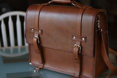 Handmade leather bag by BeautyAndTheBiker, $500.00. I made this mens leather briefcase by hand. It took a while to make, but this handmade mens leather bag outlast you.