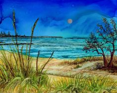 Alcohol Ink Print - 8x10 or 5x7.- Alcohol Inks - Beach with moon-