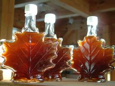 Pure Canadian Maple Syrup In A Maple Leaf Bottle.
