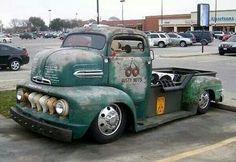 1951 Ford COE custom conversion to pickup truck Hot Rod Trucks, Cool Trucks, Big Trucks, Chevy Trucks, Pickup Trucks, Cool Cars, Pick Up, Custom Cars, Custom Trucks