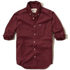 Hollister Patterned Poplin Shirt (150 ILS) ❤ liked on Polyvore featuring men's fashion, men's clothing, men's shirts, men's casual shirts, burgundy, mens poplin shirt, mens print shirts, geometric mens shirts, mens burgundy shirt and mens slim fit shirts