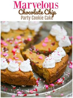 Marvelous Chocolate Chip Party Cookie Cake - This party cookie cake is simply over-the-top and will delight everyone any way you slice it! Perfect sweet treat for any occasion! #chocolatechip #chocolate #cookie #cookiecake #partydessert #chocolatechipcookiecake #partycookiecake #cookiedessert Party Desserts, Unique Desserts, Cookie Desserts, Delicious Desserts, Yummy Food, Fun Food, Cupcake Recipes, Cookie Recipes, Cupcake Cakes