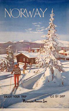 Poster: Norway - Ski - Norwegian America Line Artist: Arne W. Normann 1960 Publisher: Norwegian State Railways / Norwegian Travel Association Printed by: Offset by Grøndahl Vintage Ski Posters, Vintage Postcards, Lofoten, La Provence France, Old Poster, Jet Ski, Norway Winter, Stations De Ski, Travel Ads
