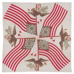 ARTIST UNKNOWN (POSSIBLY BALTIMORE, MARYLAND) Patriotic, between 1847 and 1851 Appliquéd cotton, hand-quilted, 105 in. x 104 in. (267 x 264 cm) KSU HCTM 1992.13.1, gift of Catherine Gardner