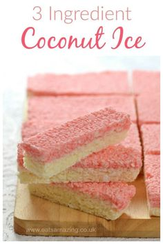 30 Easy Edible Gifts that Kids Can Make for Christmas Just 3 ingredients to make this delicious Coconut Ice recipe - a classic sweet treat and easy homemade gift idea Candy Recipes, Sweet Recipes, Baking Recipes, Baking Ideas, Indian Desserts, Köstliche Desserts, Pakistani Desserts, Coconut Ice Recipe, Kids Meals